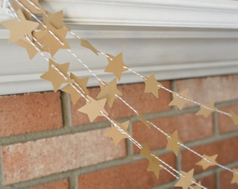 Kraft Star Garland, Rustic Star Banner, Wedding Decor, Kraft Paper Bunting with Bakers Twine, 5 Foot Banner, Star Photo Prop, Bridal Shower