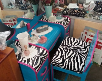 ZEBRA Pink Teal Black White Circa 30's Antique Waterfall Vanity Dressing Table Salvaged Animal print diva Chic Distressed Refinished WHAGN