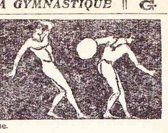 Antique French Print Dictionary Page 1930s Illustrations Gymnastics exercise stretching paper projects scrapbooking, collage