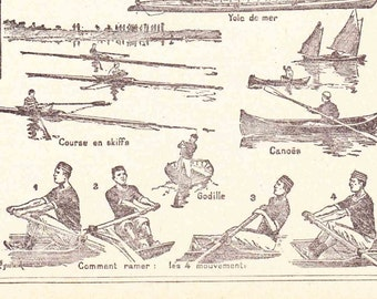 Evocative Antique French Print 1920s Engraved iIlustrations Rowing Sculling Book page