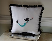 Embroidered Mermaid Pillow on White Linen - with or without pom pom trim