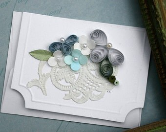Quilled Enclosure Card , All Occasion, Wedding, New Baby, Anniversary, Birthday, Hostess, Garden Lover, Floral, Flowers- Blues and Cream