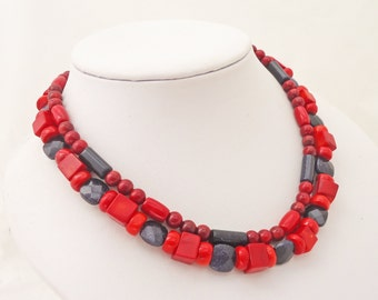 Red Coral and Blue Gold Sand Necklace, Blue and Red Necklace, Double Strand Necklace, UK Seller