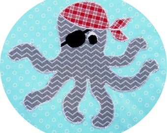 Pirate Octopus Applique Pattern - Instant Download