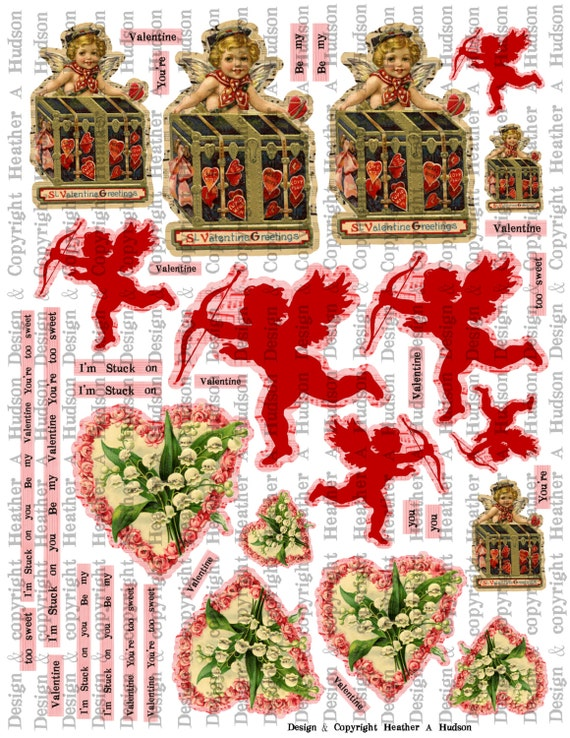 Victorian Vintage Valentine's Day Shabby Images  Digital Collage sheet Printable