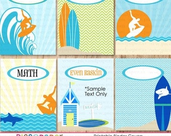 Printable Binder Covers with surfboards, surfer on giant wave, sharks and beach scene- Add your own text to customize them