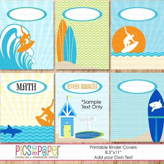 Printable Binder Covers With Surfboards Surfer On Giant Wave