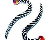 6g gauged ear plugs earrings talons for stretched piercings - Zebra Stripes