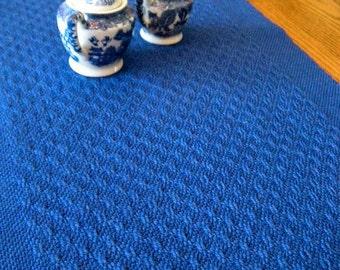 "Handwoven Table Runner, Cobalt Blue Handwoven Lace Runner, Dresser Scarf, Hand Woven Textile, Woven Runner, Handwoven Table Linen, 14"" x 48"""
