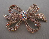 brooch, bow brooch, rhinestone brooch, rhinestone jewelry, rhinestone bow brooch, statement brooch, topaz rhinestone brooch, gifts for her
