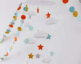 Stars And Clouds Baby Mobile- U Pick Colors