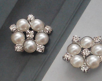 20 Pieces 23 mm Pearl and Rhinestone Silver Metal  Buttons Bridal Embellishment.