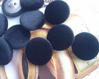 12 Pieces Black Velour Velveteen Fabric Sewing Buttons. Home Decor, Black Holiday Button.