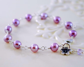 Lavender Bracelet, Flower Girl Jewelry, Radiant Orchid, Genuine Freshwater Pearl, Child, Lilac, Sterling Silver Jewelry, Cherry Blossom