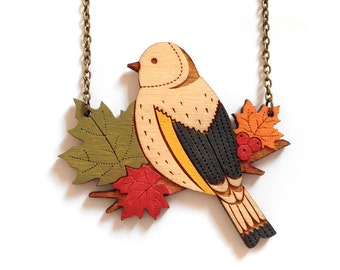 NEW! Autumn Goldfinch Necklace