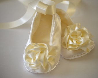 Baby girl shoes, baptism shoes, christening shoes, white or ivory