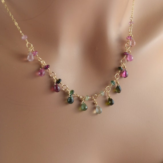 tourmaline necklace pink and green gemstone drops wire. Black Bedroom Furniture Sets. Home Design Ideas