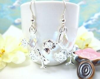 Sterling silver cherry blossom Swarovkski crystal dangle earrings, Japanese sakura sterling silver earrings, Mother's Day floral earrrings