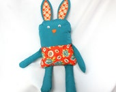 Teal and Orange Bunny Rabbit, ready to ship