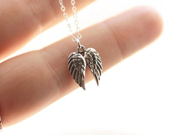 Sterling Silver Angel Wing Necklace, Angel Wings Charm, Angel Necklace, Dainty Necklace, Gold Angel Wing Necklace, Delicate Jewelry