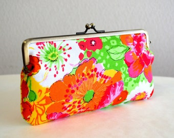 Christmas sale!  Retro watercolor floral pencil case / iPhone iPod case / Glasses case - Handmade in Japan. Ready to ship.