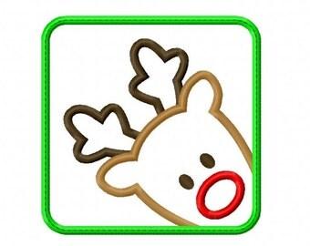 Rudolph Reindeer Applique Machine Embroidery Design 3x3 4x4 5x7 6x10 INSTANT DOWNLOAD