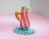 1/12TH scale victorian miniature teapot for your dollhouse with stripes of pink and gold
