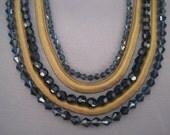 SALE:  Vintage Brass Serpentine Blue Swarovski Crystal Necklace