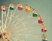 "Ferris Wheel Photography - Fair Carnival Decor - Fine Art Photography - Summer Blur- ""COLOR WHEEL"""