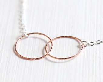 Together Forever - Rose Gold Ring Necklace - simple everyday friendship necklace