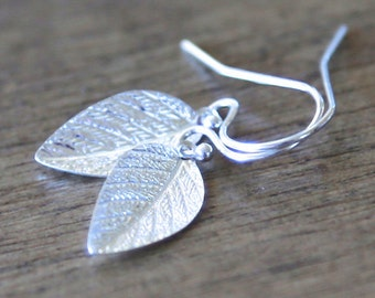 Shining Leaf Dangle Earrings - On sterling silver hooks - simple everyday rustic jewelry