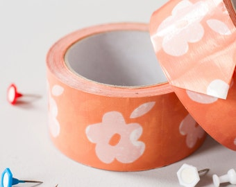 TAPE Gift Tape Gift Wrap Flower Wrapping Tape Packaging Supplies_Peach Flower Tape