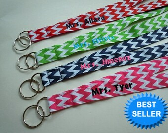 Lanyard PERSONALIZED With NAME in Chevron Print Your Choice of Fun Ribbon Prints Perfect for Mom, Teacher, Student, Nurse