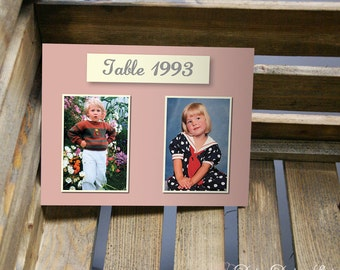 Table Number Card with Two Photos - Through the Years - 5x7 or 4x6 Card