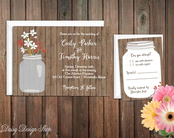 Wedding Invitation - Mason Jar and Winter Flowers - Invitation and RSVP Card with Envelopes