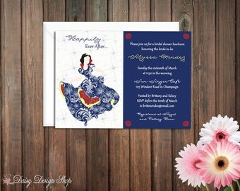 Bridal Shower Invitation - Snow White Silhouette in Damask Gown
