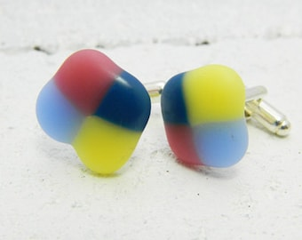 Handmade Glass cufflinks bubbles 001