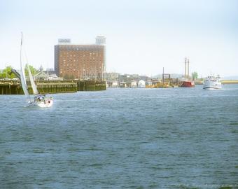 BOSTON HARBOR Fine Art PHOTOGRAPHY, City Art, Travel, Massachusetts, New England, Atlantic, Ocean, Coastal,