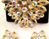 Juliana Brooch & Clip on Earring Set Prong Set Marquise Are Open Back AB Rounds