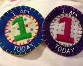 Custom designed birthday pin felt and fabric appliqué embroidered