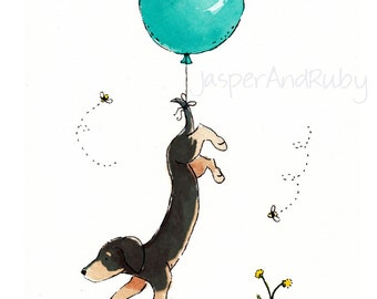 Dachshund Art, Children's Art, Turquoise Balloon Print, Nursery Print, Nursery Wall Art, Puppy Nursery Art, Dachshund Gift, Baby Shower Gift
