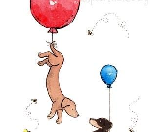 Dachshund Art, Puppy Nursery. Balloon Nursery, Dachshund with Balloons, Nursery Wall Art, kids room decor, Baby Shower Gift, Dachshund Gift