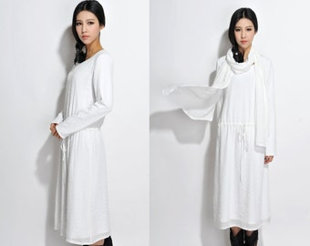 Long Silk Linen Blend Dress with Cotton lining/ Any Size / Long dress with Scarf/ 20 Colors/ RAMIES