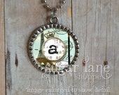 Monogram Initial Bezel Necklace (Little Piece of Paris) - Chain Included