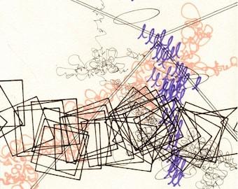 """Language 4, small, abstract, original, 6"""" x 8.5"""" drawing"""