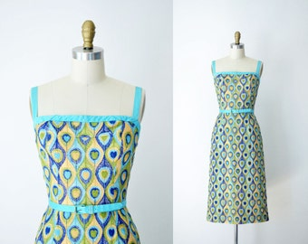 1950s  Embroidered Wiggle Dress / 50s Carolyn Schnurer Dress