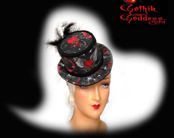 Goth Hat My Bloody Valentine Bleeding Roses Winged Heart Mini Top Hat in Black and Red with Feathers