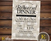 Printable Rehearsal Dinner Invitation - Rustic Rehearsal Invitation - Shabby Chic Neutral Black and Beige Invitation