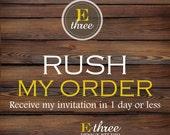 Rush Order Listing - E Three Designs Rush Order Fee for invitation Designs