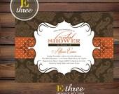 Printable Bridal Shower Invitation - Fall Wedding Shower Invitation - Autumn Brown and Orange Damask Shower Invitation